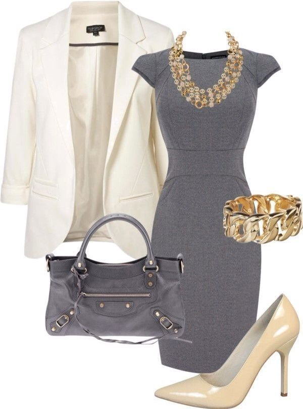 Simple gray and classic white pairing with gold accessories
