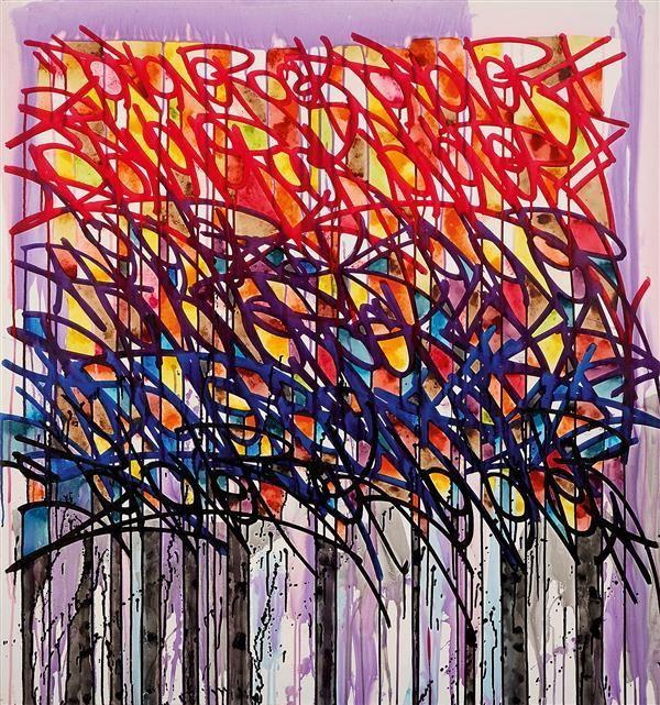 JONONE (Né en 1963) Brother to the brother, 2008 Acrylique sur toile Titrée, signée et datée au dos Acrylic on canvas Titled, signed and dated on the reverse 107 x 100 cm - 42 1/8 x 39 3/8 in. Estimation : € 15,000-20,000  Provenance : Acquis directement auprès de l'artiste par le propriétaire actuel