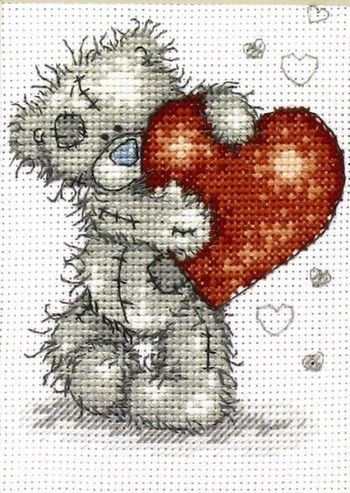 """Cross Stitch Patterns  """"From me to you"""". - The grey bear with the blue nose."""
