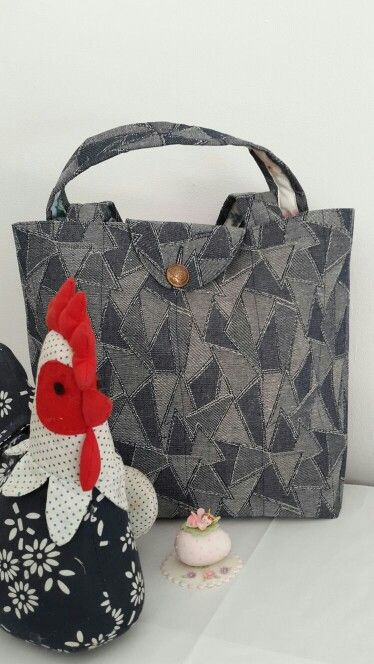 Denim Box Bag with floral lining, inner pocket and flap. Made by Vanilla Ruche