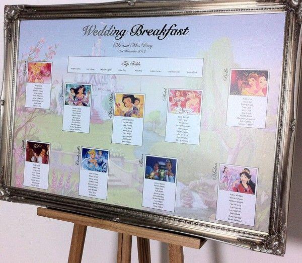 Disney themed wedding table plan