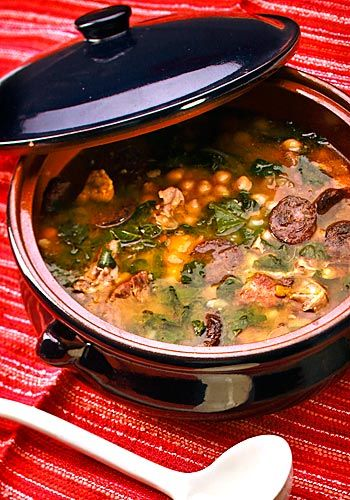 Berza Andaluza, or Andalusian chickpea stew rich with meats and vegetables. I made a version of it in Budapest with Hungarian sausages instead of the Andalusian ones -- and almost everyone at the table requested the recipe.