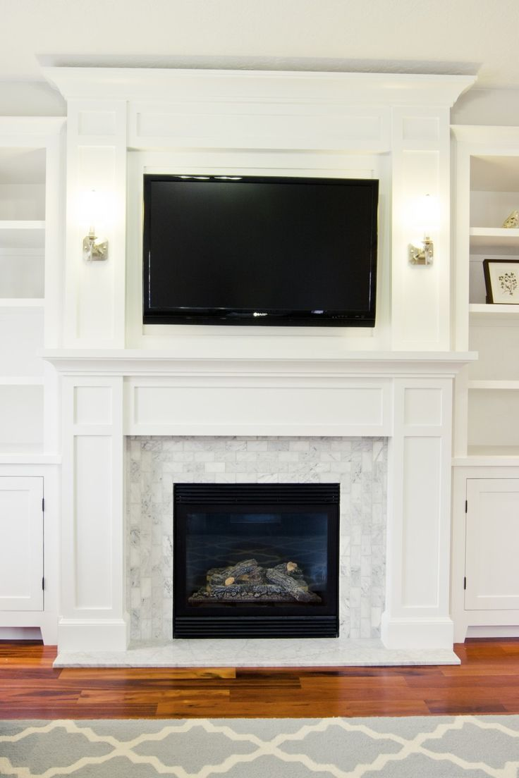 Living Room, Large Collection Of Modern Age Fireplace Surround For Your Living Room: Chic White Tile And Wood Mantle Around Fireplace Mount ...