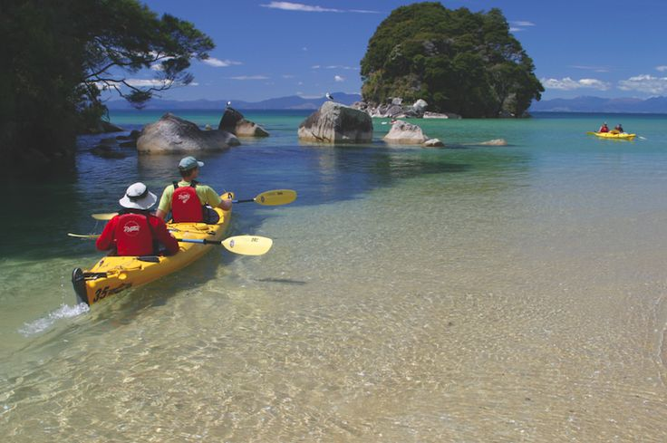 Exploration by the sea at Abel Tasman National Park in Nelson, New Zealand #travel #photography #newzealand #beautiful #nelson #kayak #water #beach #summer #outdoors #fun