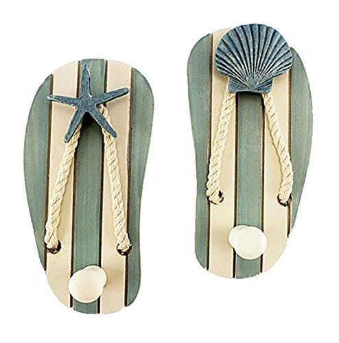 Set of 2 Wood Sandal Wall Hooks