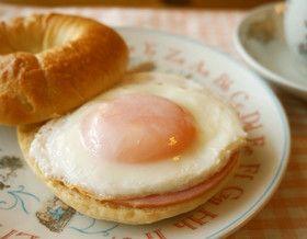 朝食に☆ハムエッグベーグル