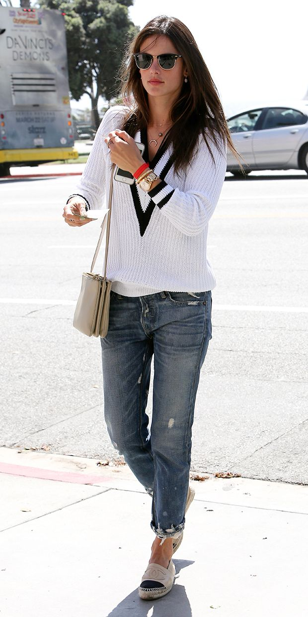 Alessandra Ambrosio // Rag & Bone pullover, Celine bag, and Chanel espadrilles #StreetStyle