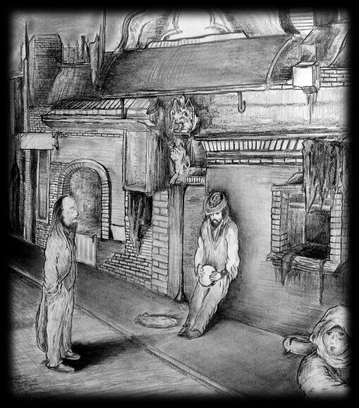 'The Busker' Pencil on paper