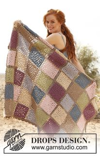 """Crochet DROPS blanket with squares in """"Lima"""". ~ DROPS Design - Use this pattern for kitchen curtains, but use 3.5 mm hook & cotton yarn/thread."""