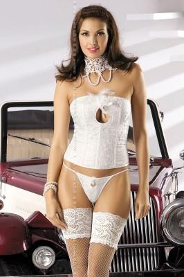 Piękny gorset ecru MyLove plus stringi i kolia - bielizna nie tylko na noc poślubną