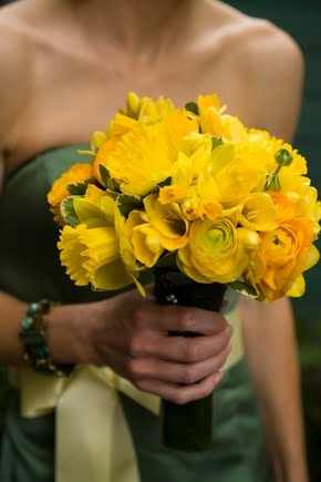this bouquet with all yellow roses, daffodils, tulips, peonies, freesia...