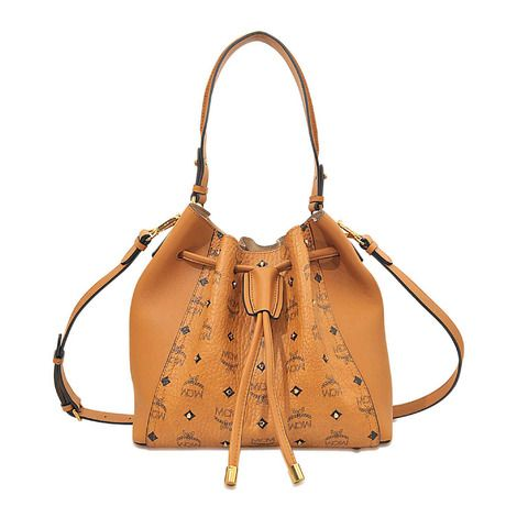 MCM Gold Visetos Drawstring Medium Tasche