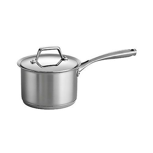 Tramontina Prima Tri-Ply Stainless Steel Covered Sauce Pan, 2 qt. by Tramontina USA, Inc.. $49.95. Oven-safe up to 500 degree F / 260 degree C; compatible with the following: induction, gas, electric, ceramic glass; dishwasher-safe. Flared edge-easy & dripless pouring. Measures 14.250 by 7.125 by 6.250 inches; lifetime warranty; made in Brazil. Riveted cast stainless steel handles; 18/10 stainless steel lid. Tri-ply base construction. Whip up any meal with a durable Tram...