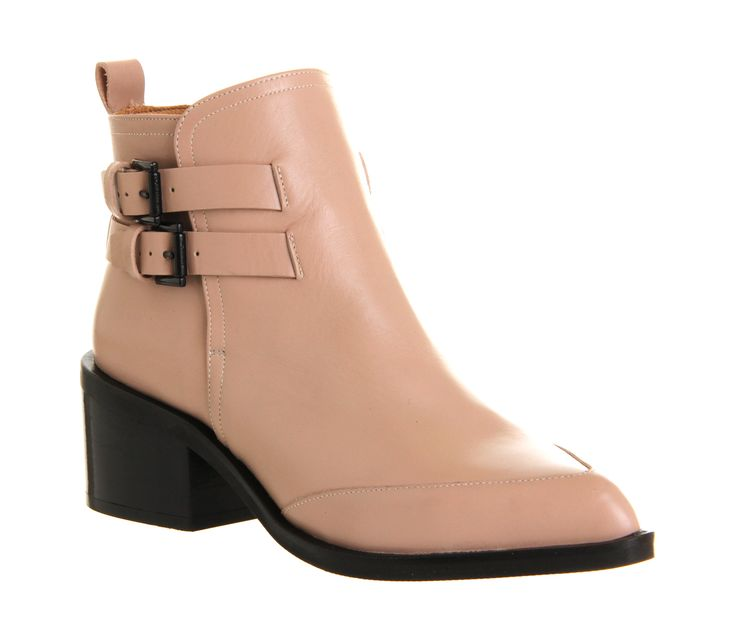 Office Marvel Double Buckle Boot Pink Leather - Ankle Boots