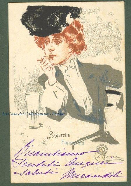 Vintage Illustrator postcard SIGARETTA FINISSIMA. Cartolina pubblicitaria disegnata a colori da Aleardo Terzi.