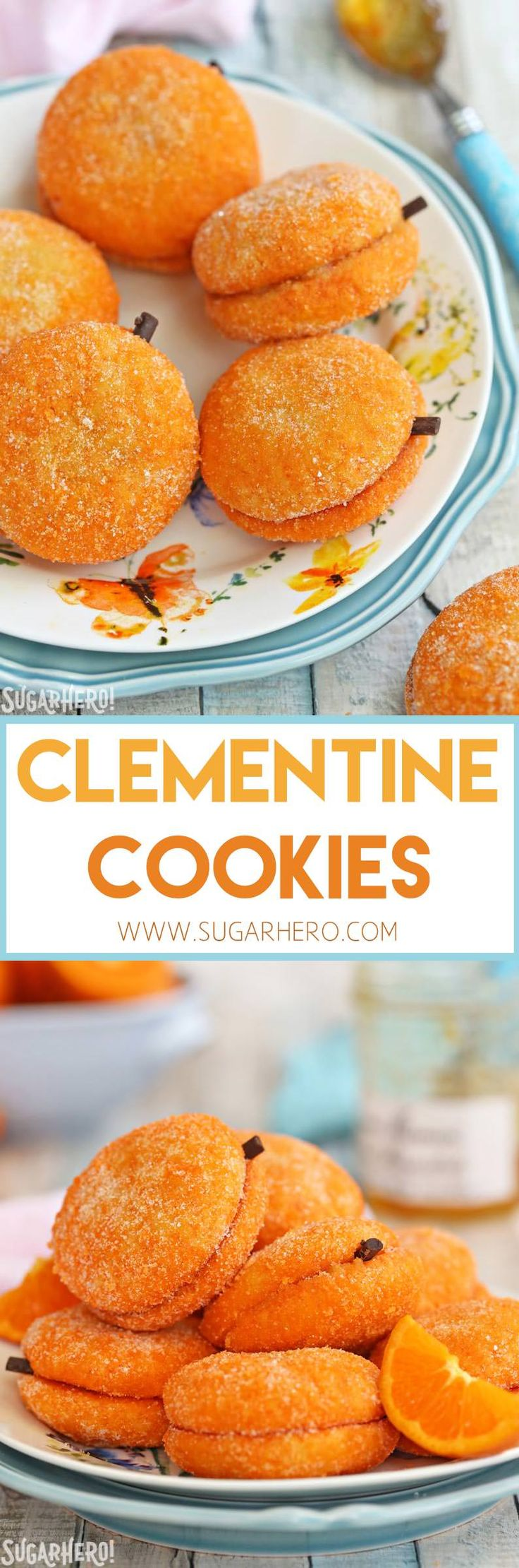 Clementine Cookies - beautiful sandwich cookies that look AND taste like real clementines! | From SugarHero.com