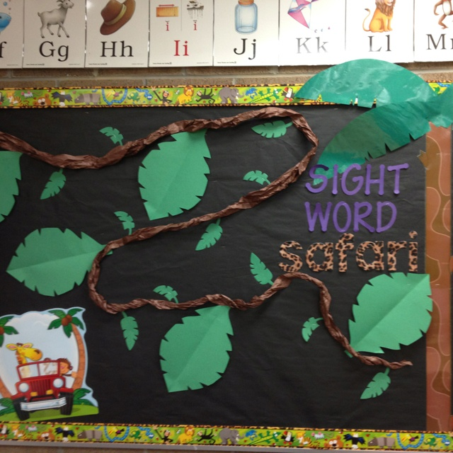 Jungle theme classroom... Sight word data wall that's fun for the kids. They move their monkey to each big leaf when they make that goal.