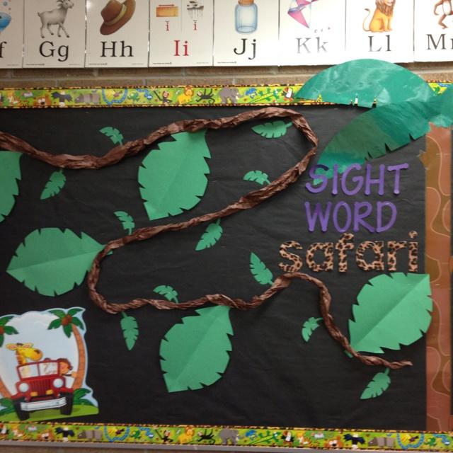 Monkey Classroom Decor ~ Jungle theme classroom sight word data wall that s fun