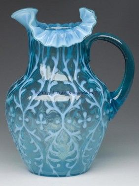 Blue Opalescent Spanish Lace Water Pitcher
