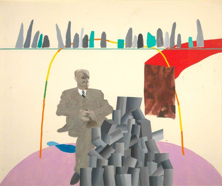 David Hockney, Portrait Surrounded by Artistic Devices, 1965, Arts Council of Great Britain