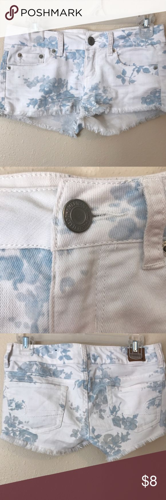 Frayed shorts Baby blue and white floral pattern. Really comfortable shorts bought from AE outfitters American Eagle Outfitters Shorts