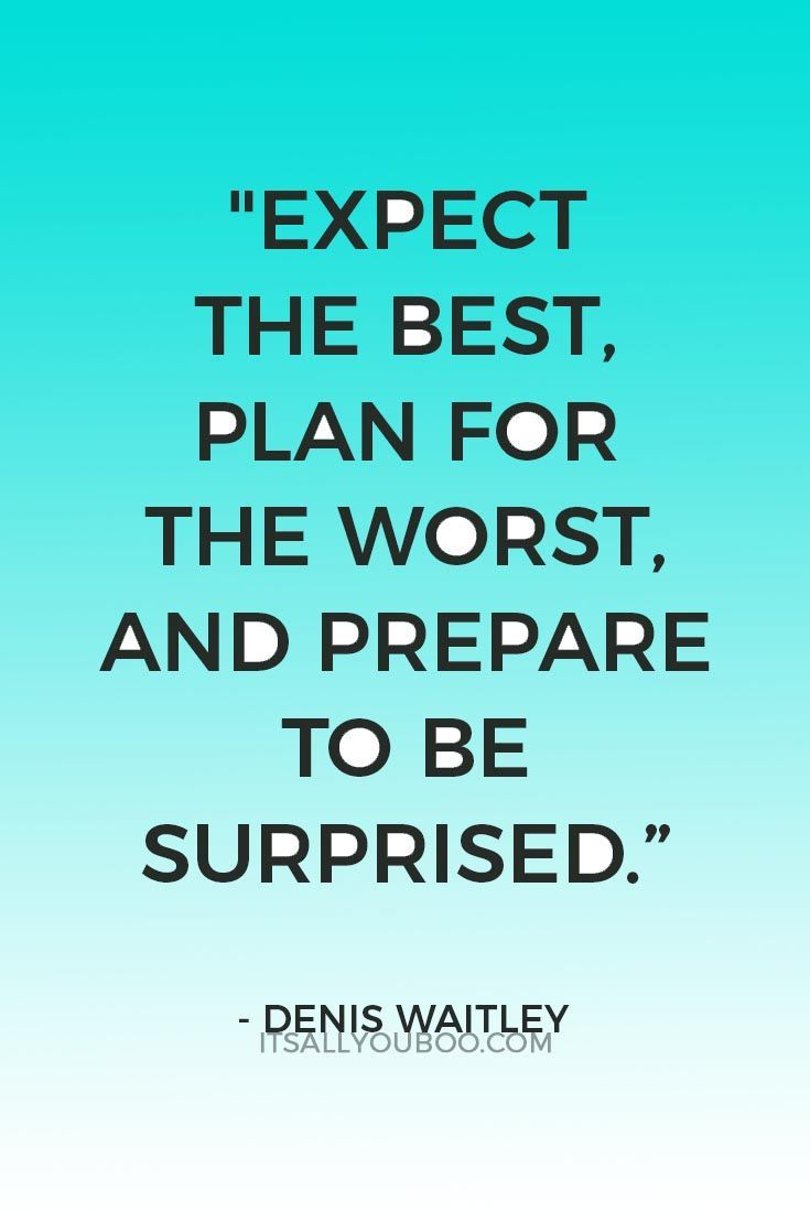 Expect The Best Plan For The Worst And Prepare To Be Surprised Denis Waitley Inspi Inspirational Quotes For Teens Wisdom Quotes Inspirational Quotes