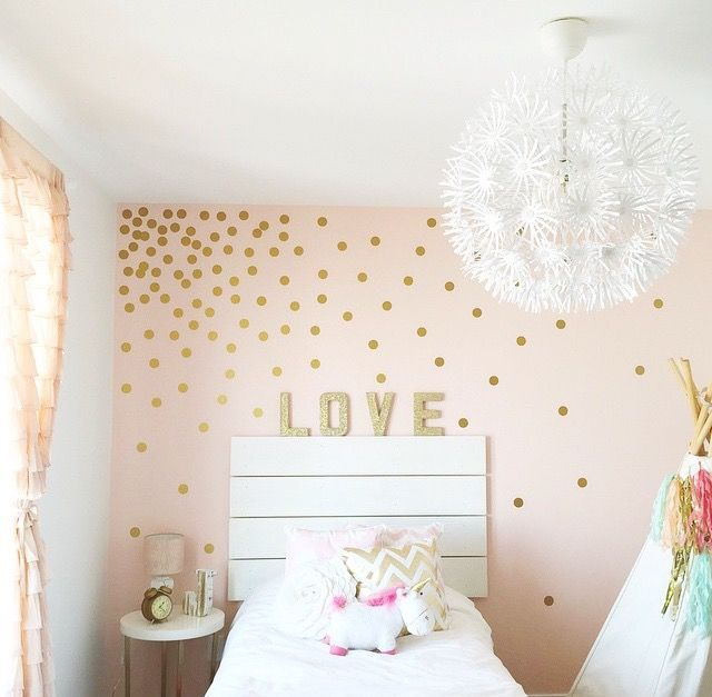 "This room by JustTwinMamas is too cute! They used our 2"" confetti polka dots to make a dramatic statement in this little girls room! http://www.justtwinmamas.com/"