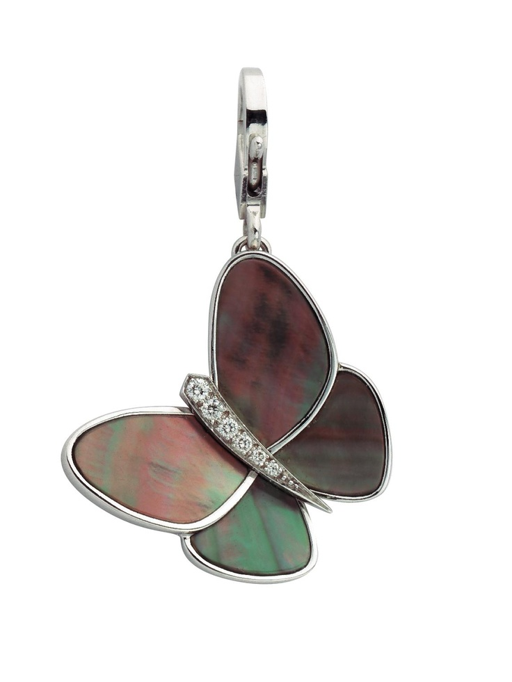 Van Cleef & Arpels Gray Mother of Pearl Papillon Charm at London Jewelers!