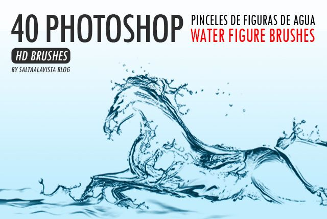 40 Pinceles para Photoshop Gratis de Figuras de Agua / 40 Free Photoshop Water Figure Brushes