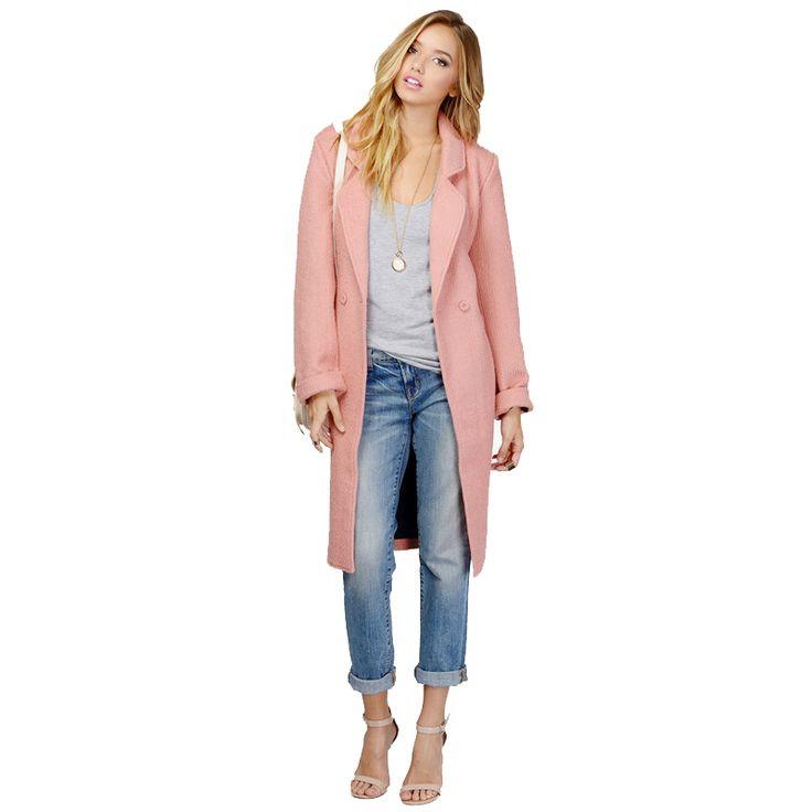 Осень зима новинка розовый плащ дамы офис отложным воротником пальто для женщин ветровка женский CT111 купить на AliExpress