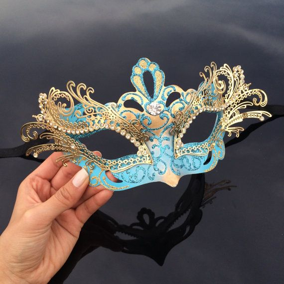 Masquerade Mask Mardi Gras Mask Teal Blue & Gold by 4everstore