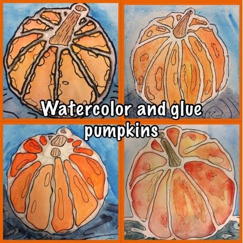 Watercolor and glue pumpkin art project, step by step with photos. Uses glue with sharpie outlines and watercolor!