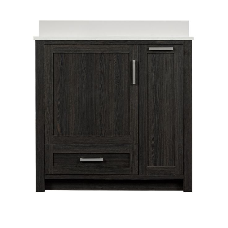 Style Selections Bath Vanity Black Walnut 36-in Undermount Single Sink Bathroom Vanity with Engineered Stone Top (Mirror Included)