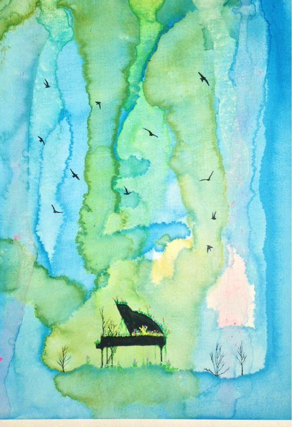 この絵は1000年ピアノシリーズ。音や色や植物な流れる時間がモチーフです。