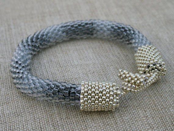 gray bracelet grey beaded bracelet gray seed bead cuff, #grauybarcelet, #beadetbracelet, #ropebracelet