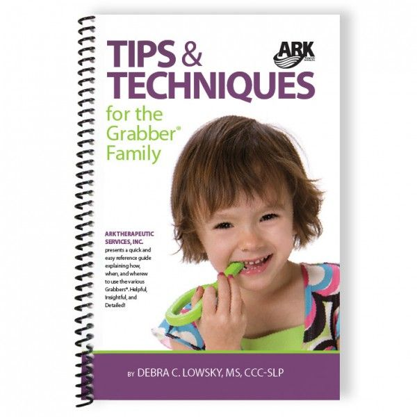 Tecniche e consigli per famiglie sul'utilizzo dei Grabber ™   Un libro scritto da Debra C. Lowsky - la logopedista e deglutologa  che sta dietro a tutti i prodotti ARK. Questo libro è una guida di riferimento che spiega come, quando e dove utilizzare i Grabber ™