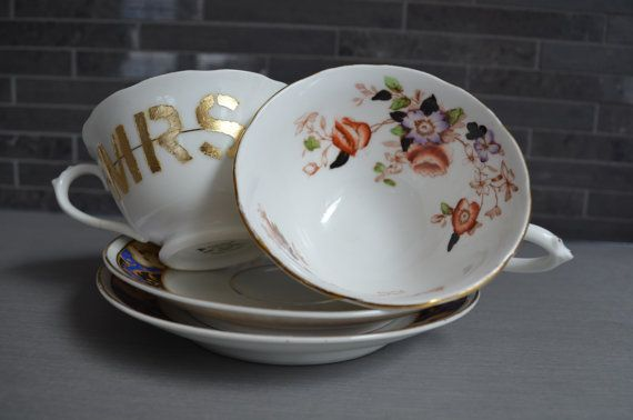 Vintage Mr and Mrs Teacup Set Composition by bostoninachinashop