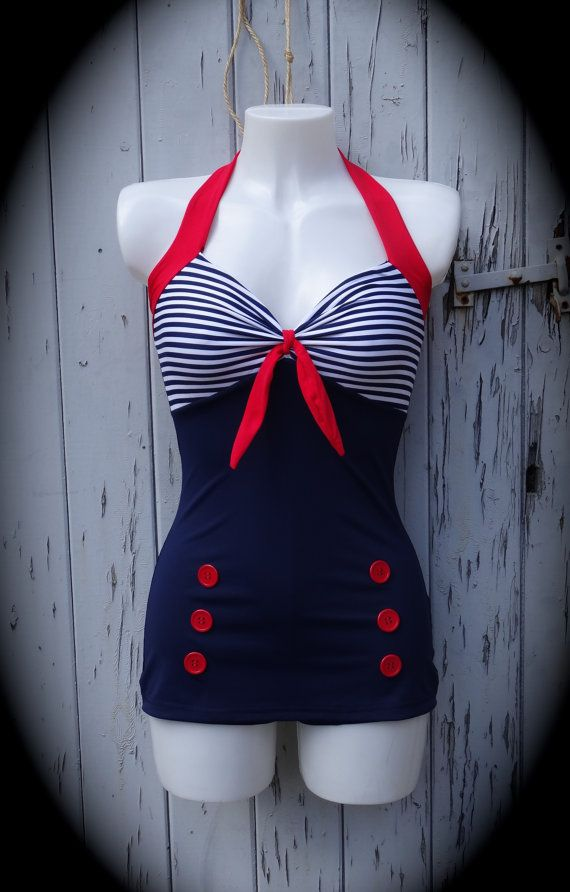 1950s Pin Up Girl Navy Blue Stripe Swimming by CupcakesChopsticks