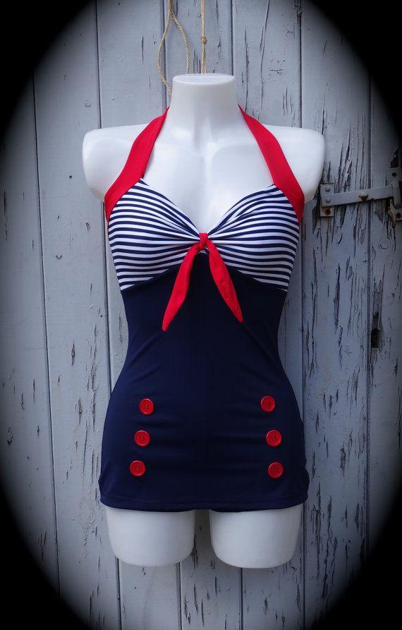 1950s Pin Up Girl Navy Blue Stripe Swimming by CupcakesChopsticks