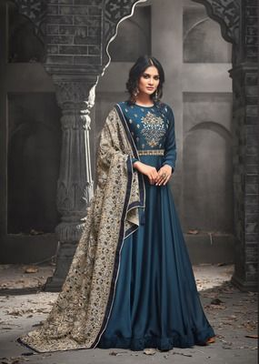 ade686c3c0 Blue embroidered satin salwar with dupatta semi stitched in 2019 ...