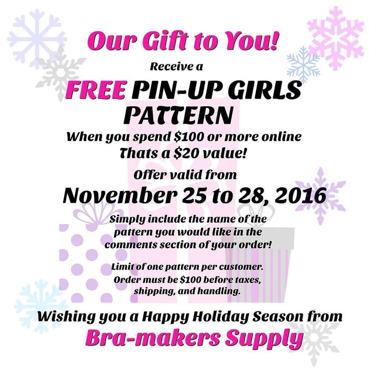 From November 25-28 receive a FREE Pin-Up Girls Pattern when you spend $100 or more online. That's a $20 value!  Simply include the name of the pattern you would like in the comments section of your order. Limit of one pattern per customer. Order must be $100 before taxes shipping and handling.  Wishing you a Happy Holiday Season from Bra-makers Supply! #pinupgirls #pattern #blackfriday2016 #HamOnt #bramakerssupply #happyholidays