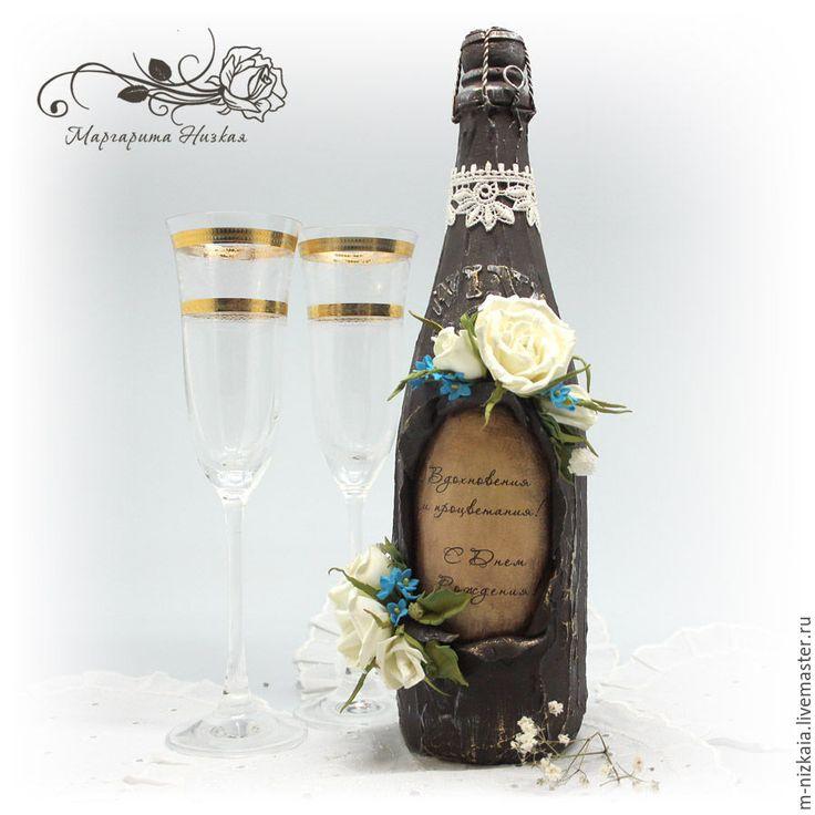 """Купить Праздничный декор бутылки """"Цветы"""" - коричневый, бутылка декоративная, декор бытылки"""