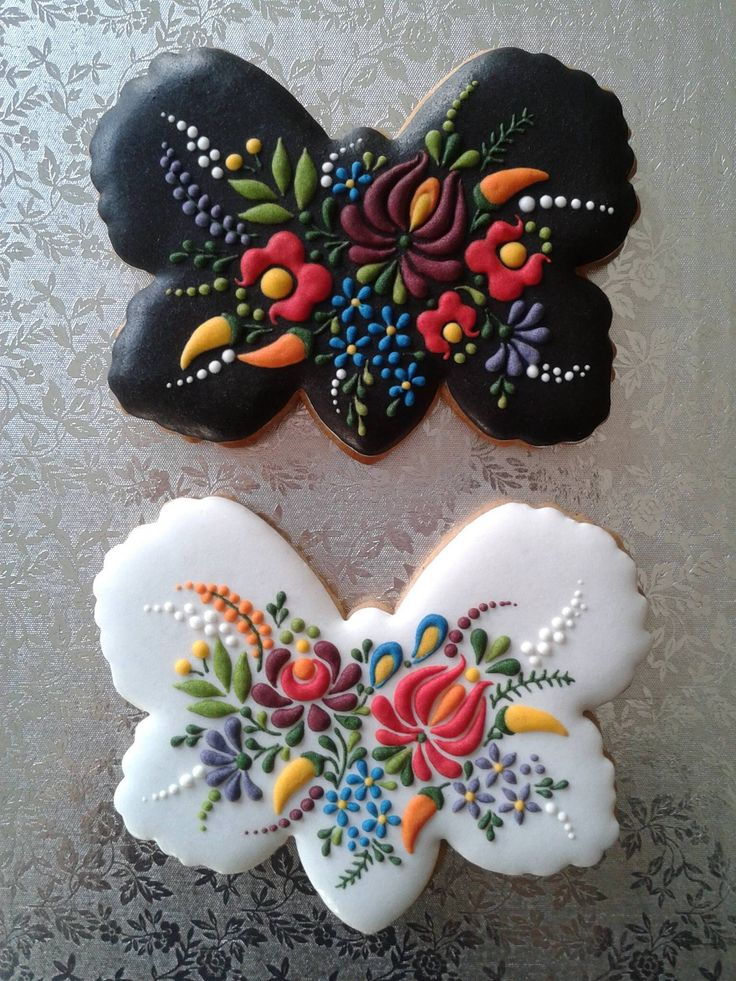 butterfly cookies with Hungarian embroidery designs ...