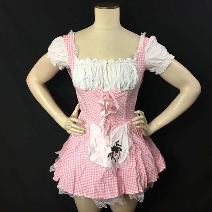 Little Miss Muffet Halloween Costume Womens Small 4/6 Fairy Tales Pink White  #Charades #CompleteCostume