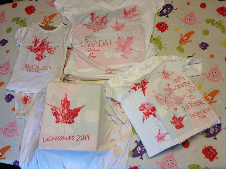 We made these awesome Canada Day shirts by painting maple leafs from our tree and using them as stamps. The kids had a blast. I plan to make many more of these types of shirts for other occasions.