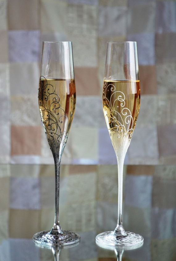 Wedding champagne glasses Toasting flutes hand by PolinikaGlass