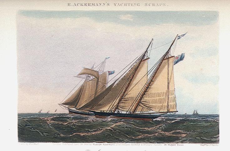 1850 'Bianca'. Schooner Yacht From: R.Ackermann's Yachting Scraps  National Maritime Museum collections.rmg.co.uk suzilove.com