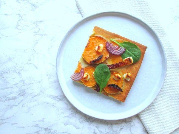 Plaattaart met zoete aardappel, makkelijke en simpel recept voor een home made pizza!
