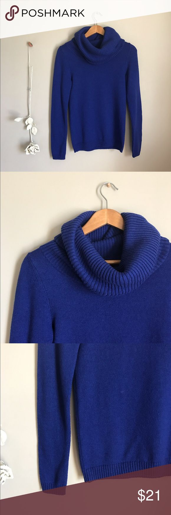 GAP cowl neck sweater Electric-blue cowl neck sweater from GAP. Perfect condition and super cute! Made of wool, nylon, and acrylic. Size small GAP Sweaters Cowl & Turtlenecks