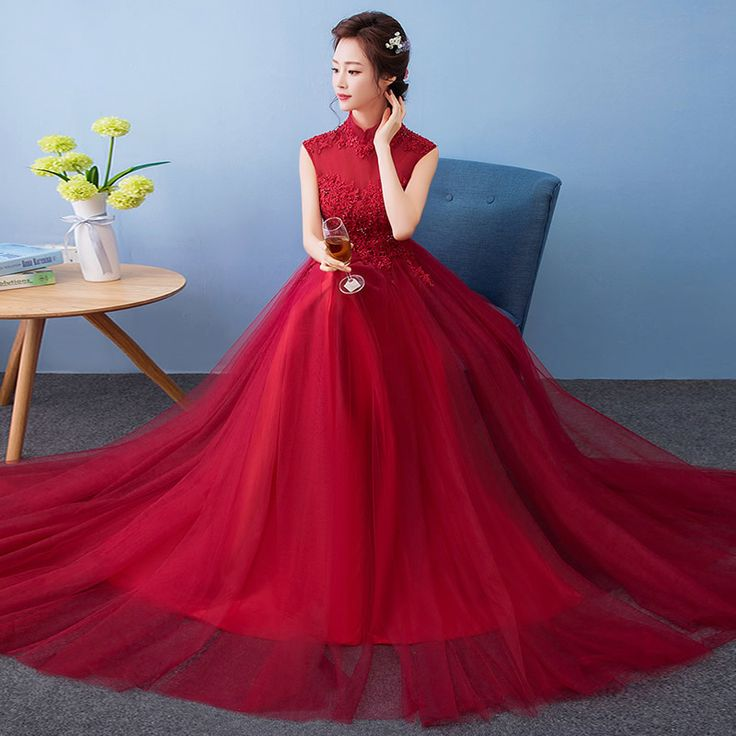 Modern Winter Qipao Long Cheongsams Chinese Wedding Dress Bride 2017 Traditional Vestido Oriental Party Dresses Red Qi Pao #WinterWedding